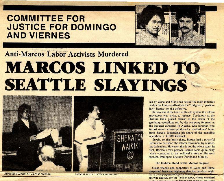 A newsletter from the Committee for Justice for Silme Domingo and Gene Viernes (Source: University of Washington)