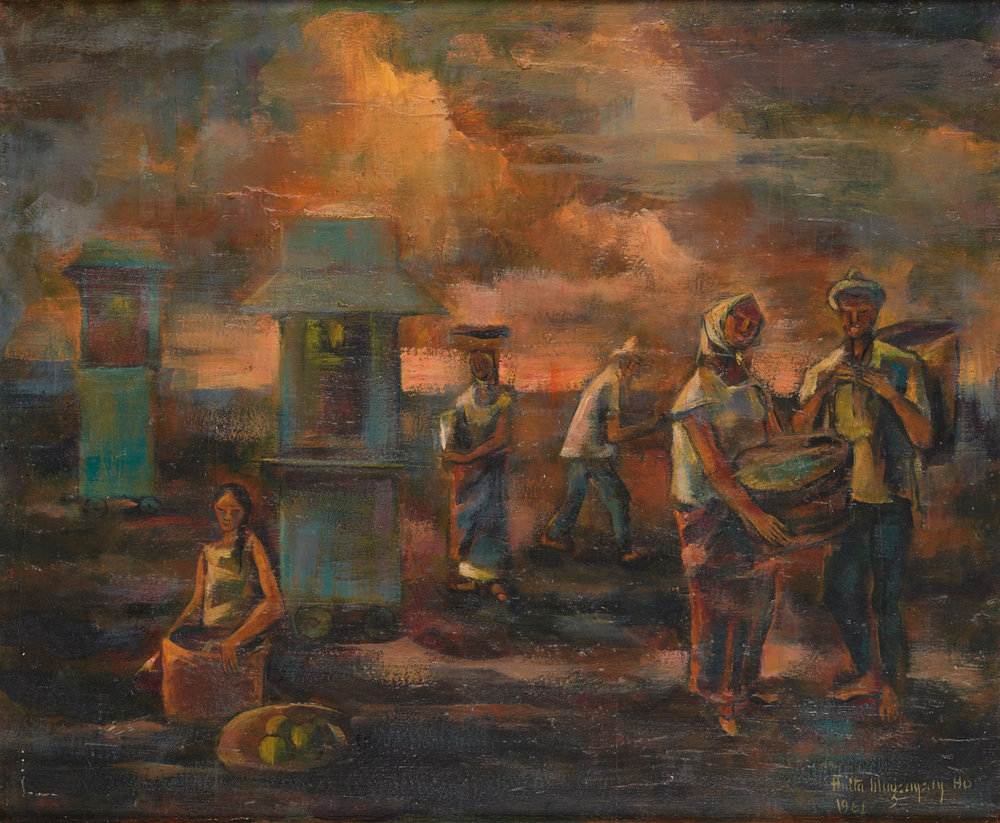 Anita Magsaysay-Ho 's Popcorn Sellers in the Luneta  (1961) documents American influence on Philippine cuisine. Gift of Mildred Angeles in honor of her husband Nolasco Angeles. ©Asian Art Museum