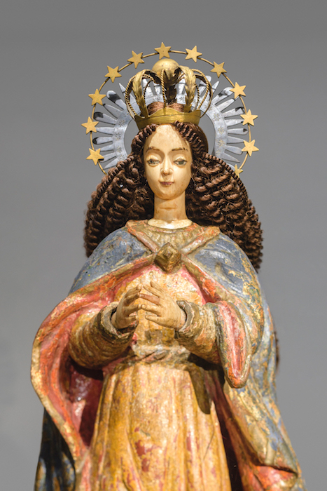 Our Lady of the Immaculate Conception  (1650-1800) tested as Molave wood. Note her charming human hair wig commissioned for the exhibition. Gift of Taylor and Julia Moore. ©Asian Art Museum