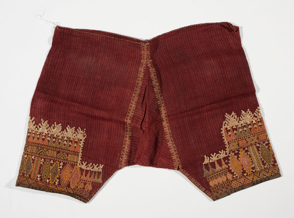 A pair of  salwar  trousers (B'laan peoples, 1875-1900), intrigued the curator as possibly being unique to Asia. Gift of the Black family in memory of Rev. and Mrs. Robert F. Black. ©Asian Art Museum