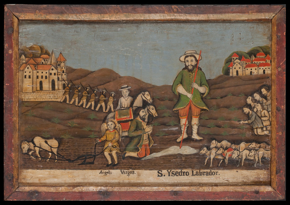 Why there are revolutionary soldiers in this colonial retablo (1750-1800) of San Ysidro is anyone's guess. The chocolate hills in the background may be Bohol. Gift of Consuelo H. McHugh. ©Asian Art Museum