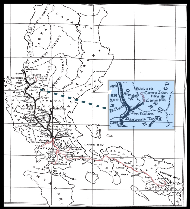Dagupan (Damortis or San Fabian) railway leg to Kennon Road (1912). The southern line is marked in red. (U.S. National Archives)