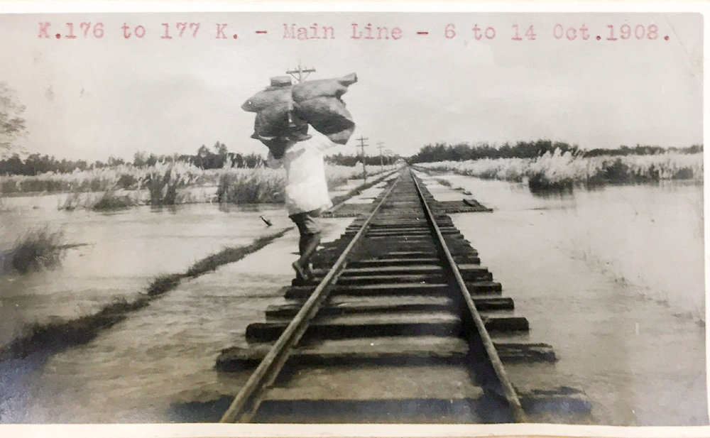 Walking along flooded rail tracks (U.S. National Archives)