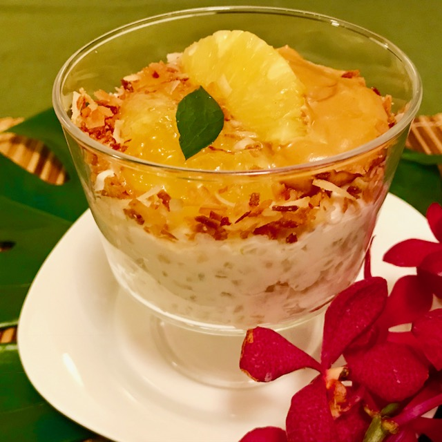 Rice-Tapioca Pudding with Pineapple Sauce and Coconut Jam Cream (Photo by Voltaire Gungab)