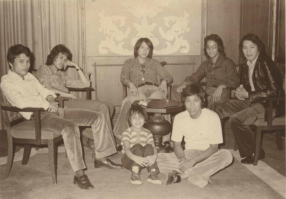 The Chosen Few (from Dodi Tan's album) : L-R: Boy Camara, Sonny Tolentino (decd.), Dodi Tan, Cash Manalang and Mon Laqui. Seated front: Kutu Manalang and Epoy Pangilinan, band manager (decd.)