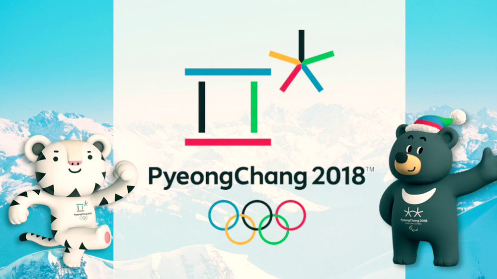 The logos and mascots for the PyeongChang 2018 Olympic Winter Games. The white tiger is Soohorang, mascot for the regular Olympics. The Asian black bear, Bandabi, right and the double asterisk (on its chest) represent the Paralympic Games.