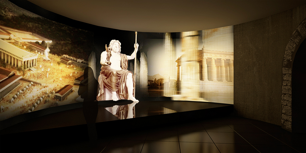 Interactive display of what the ancient Olympic Games setting must have been like in old Olympia.