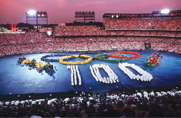 "The color, the pomp and pageantry of an Olympic Opening Ceremony are unlike any other. Above is the final freeze moment of the ""Call to the Nations"" segment (of which the author was part of the ""Blue"" tribe) of the Atlanta 1996 Centennial Games opening ceremony."