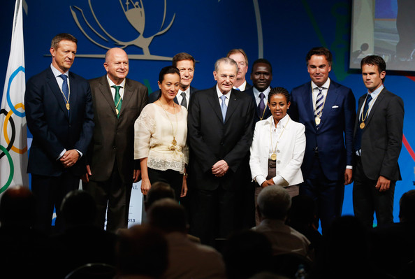 "Michaela (Mikee) Cojuangco-Jaworski, third from left, with then-IOC President Jacques Rogge to her left, and the eight other members of the ""class of 2013"" when they were instated as new IOC members in September 2013."