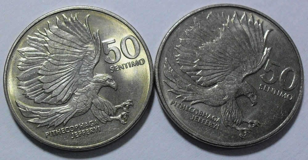 Misprints are nothing new. In 1983, the Central Bank issued new 50 centavo coins but some of them had a misspelling of Pithecophaga jefferyi (Latin for Philippine Eagle, the misprinted coin is on the right) (Source: sinsilyonimike.wordpress.com)