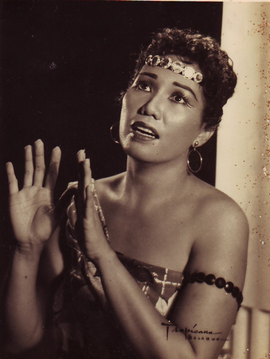 Celerina Pujante Cayabyab performs in Aida in 1957 (Photo courtesy of Ryan Cayabyab)