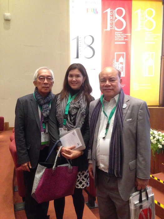 Architect Augusto Villalon with Senator Pia Cayetano and Ambassador Virgilio Reyes at the ICOMOS Awards Ceremony in Florence, Italy