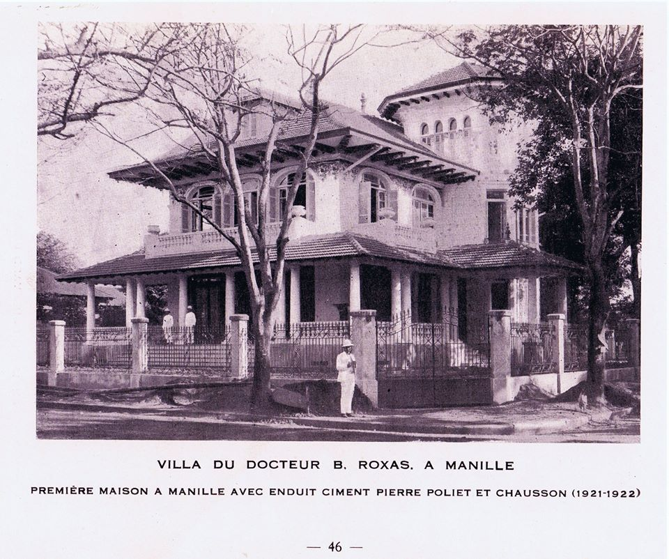 The Dr. Baldomero Roxas house, pictured here, was designed by Andres Luna de San Pedro y Pardo de Tavera, the son of the painter Juan Luna y Novicio and was the first Philippine house built of reinforced concrete-- buhos .  Luna de San Pedro was best known for designing the first air-conditioned Philippine building, the Crystal Arcade along the Escolta.