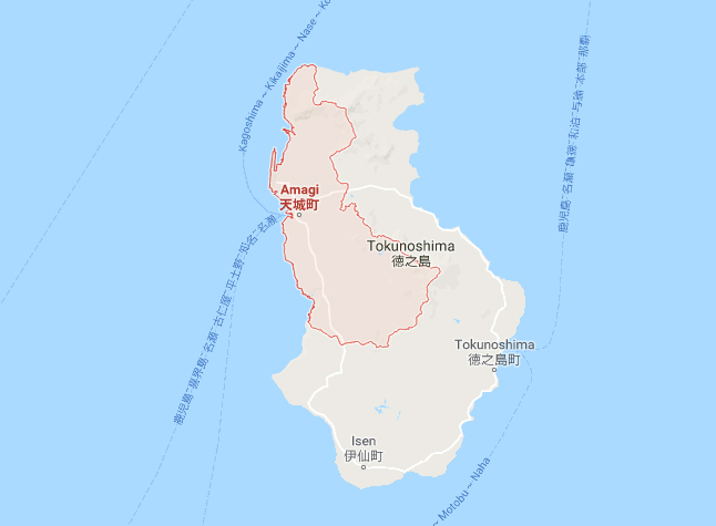 Amagi on Tokunoshima Island (Source: Google Maps)