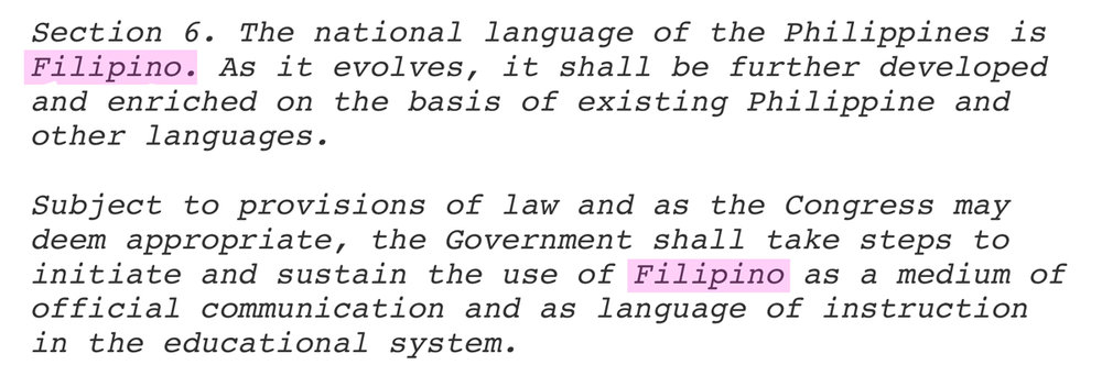 The 1987 Philippine Constitution specifies Filipino, not Pilipino.