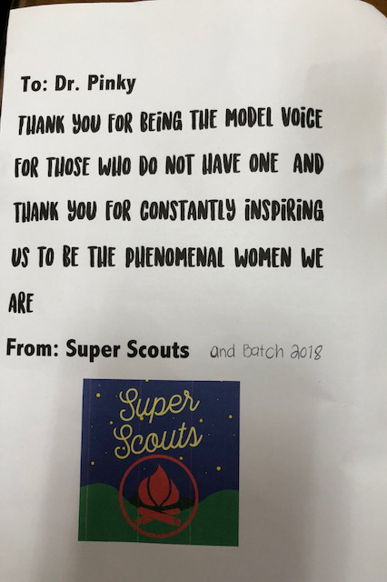 A support letter from a student.
