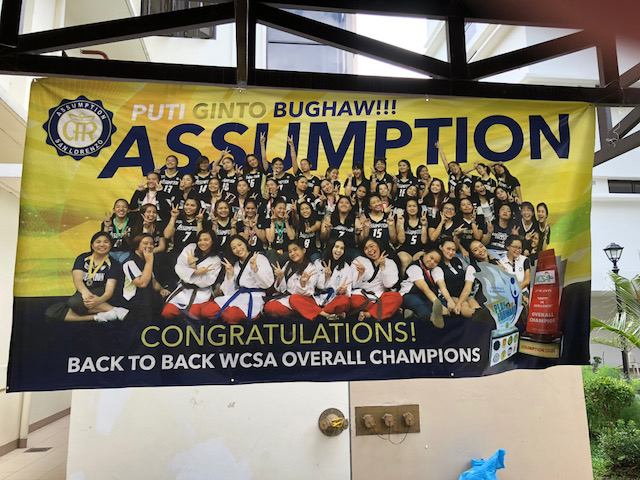 Assumption's Women's Colleges Sports Association Overall Championship Banner (Photo by Mona Lisa Yuchengco)