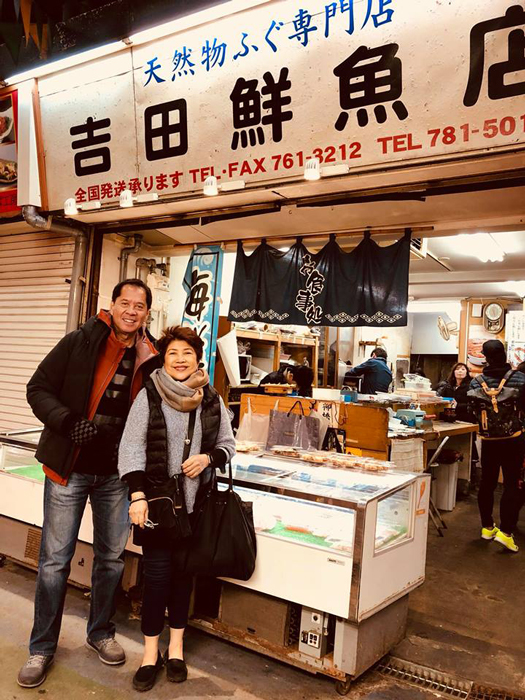 Sandy Daza and Rho Clemente stand outside Yanagibashi Shokudo, home of the second best meal we had in Japan according to the author. (Photo courtesy of Rho Clemente)