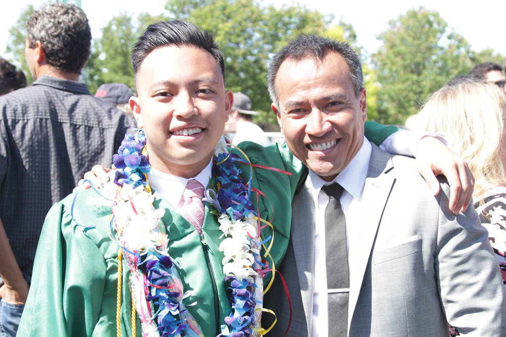 Joey Cumagun with son, Tim, who is now in Gonzaga University in Spokane, Washington, pursuing a degree in Journalism.