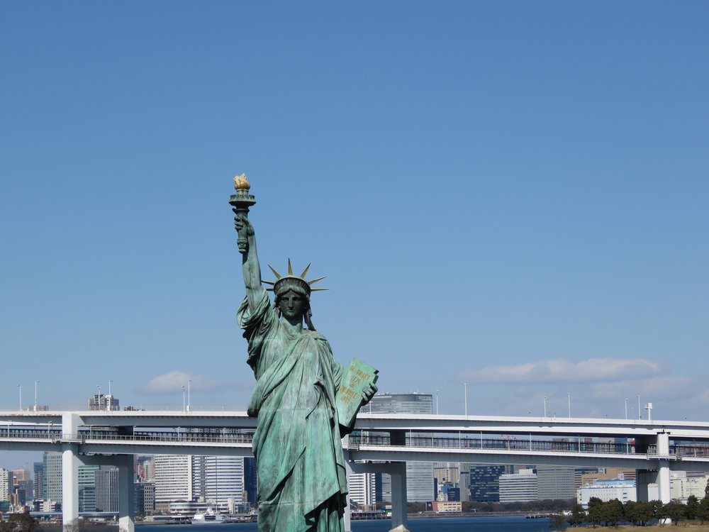 The Statue of Liberty on the reclaimed Odaiba island off Tokyo