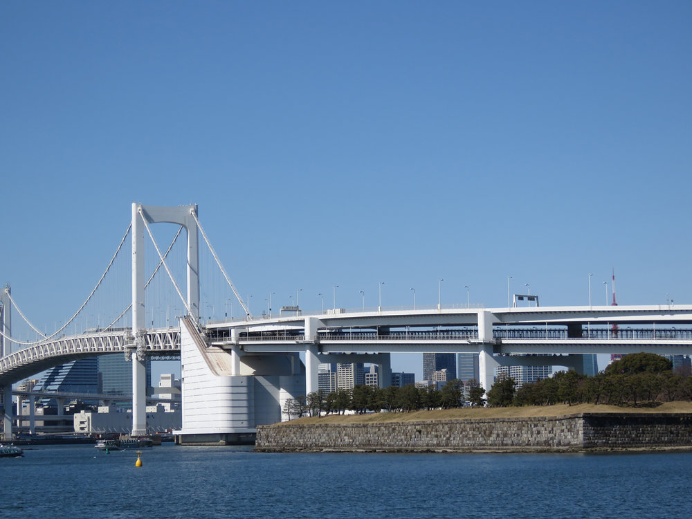 The iconic rainbow bridge that can be seen as you fly into Tokyo