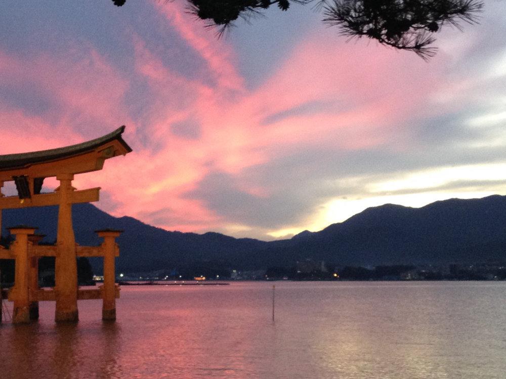The famous torii gate of Miyajima off Hiroshima