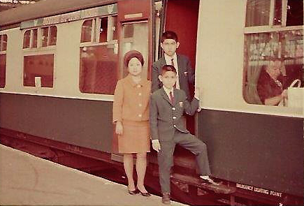 Disembarking from the boat-train at Southampton, May 23, 1968, with younger brothers David and Philip, and Mom. (Photo courtesy of the author)