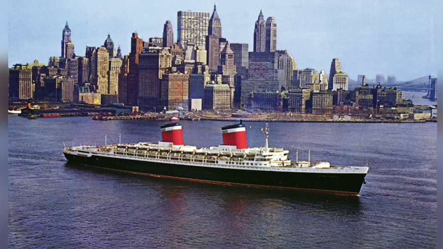 The  S.S. United States  in New York harbor, in the 1950s.