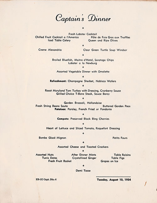 Sample of Captain's Dinner