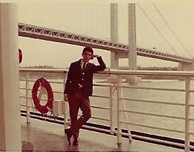 Author, having just slipped under the Verrazano-Narrows Bridge. (Photo courtesy of the author)