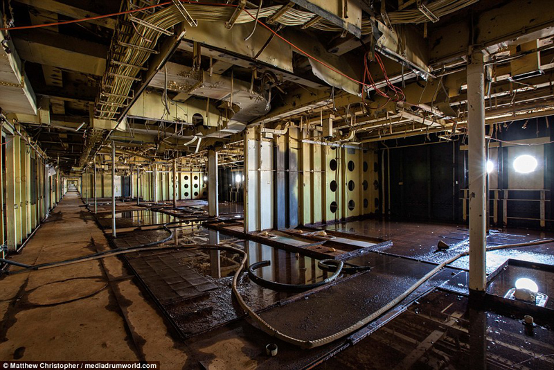 What's left of one of the luxurious lounges of the  SS United States .
