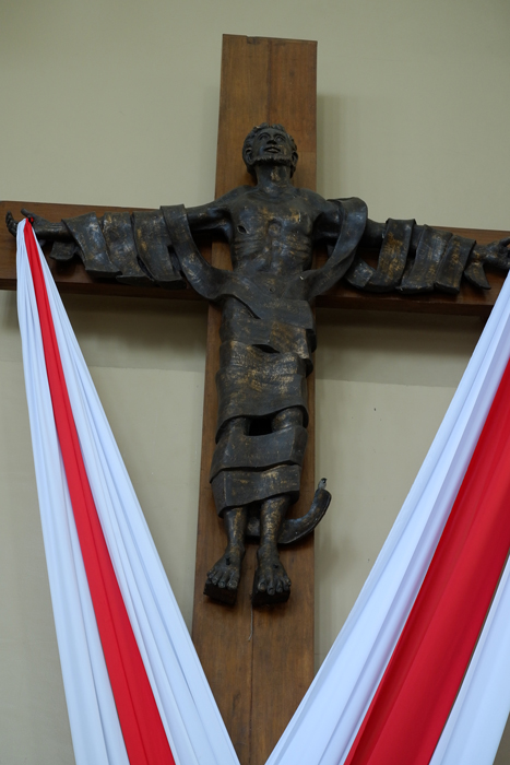 Abueva's Risen Christ (cast bronze), Our Lady of Pentecost Church, Varsity Hill, Loyola Heights
