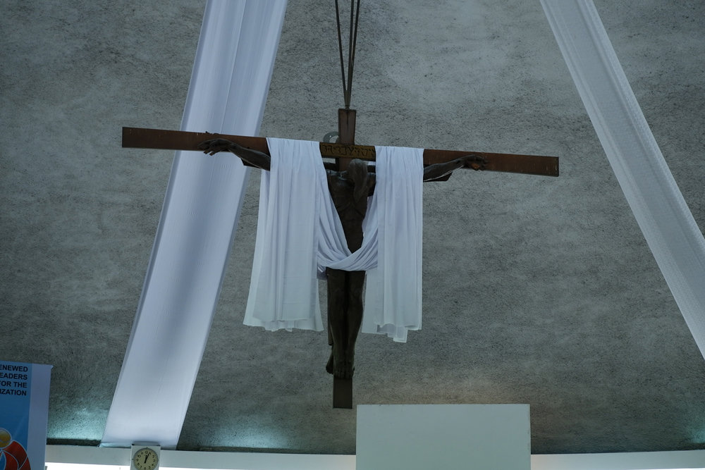 Abueva's Crucified and Risen Christ (dimension of the crucified Christ), Church of the Holy Sacrifice, University of the Philippines, Diliman