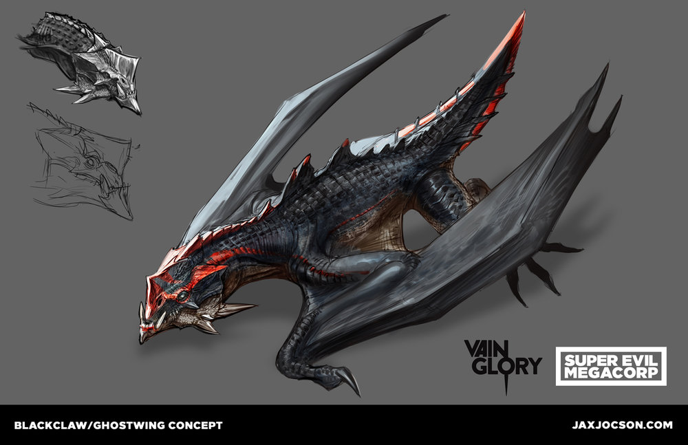 Designing the dragons for the Vainglory 5v5 mode was an exhilarating experience and one of my favorite designs. Vainglory is a MOBA for mobile, so our players are using a phone or tablet. With so many characters, VFX, and animations happening all at once, especially during a dragon fight, characters need to have clear silhouette pops. Designing an iconic head shape with a crest and underbite and team markings, so he is a very specific dragon, was one of the best parts. The art team did a great job making this bad boy come to life on screen.