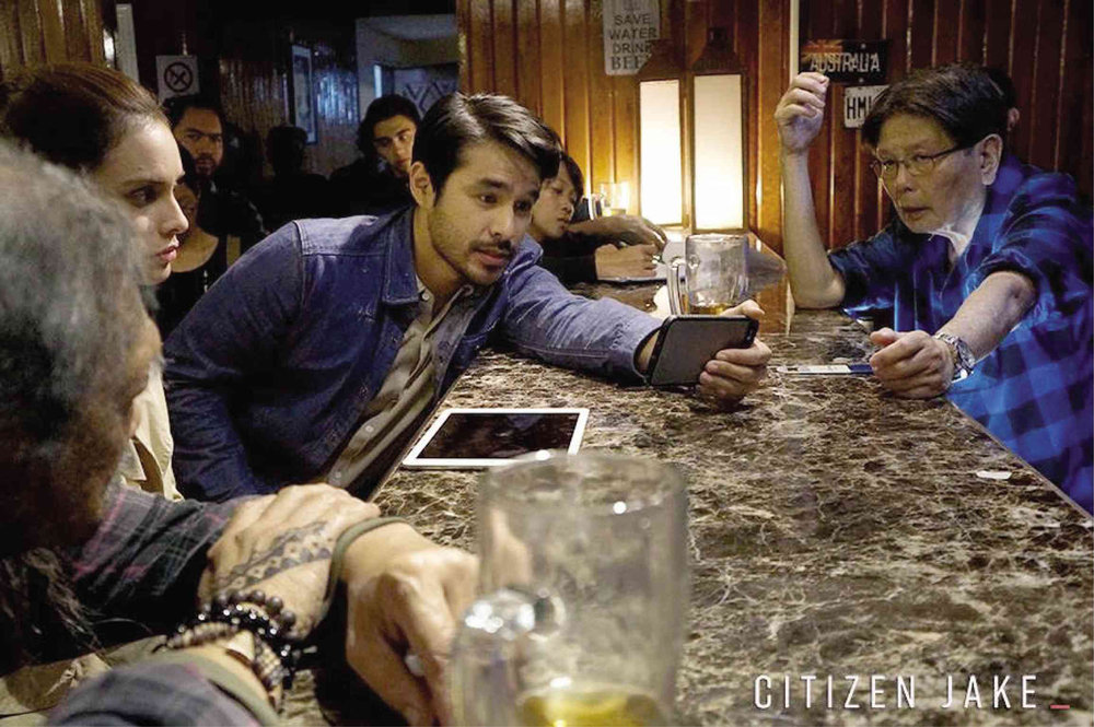 "Atom Araullo and director Mike De Leon on the set of ""Citizen Jake"""