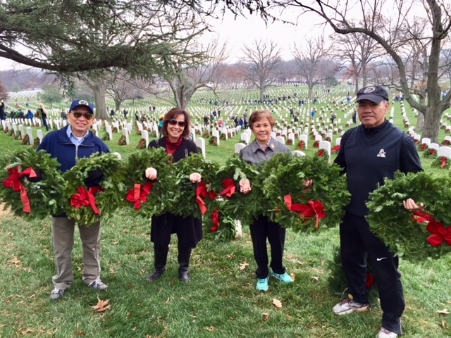 The author (second from left), Ceres (second from right) and Sonny Busa (right) at the wreath-laying ceremony at the Arlington National Cemetery.