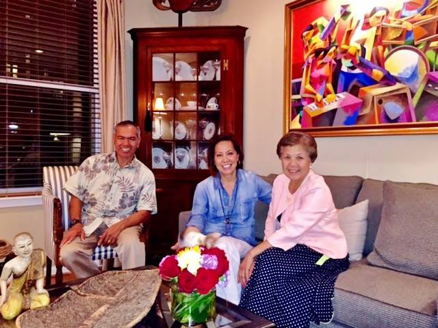 Sonny and Ceres Busa (right) at the author's home for dinner