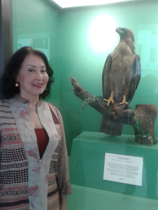 Former Director of the National Museum Gemma Cruz Araneta poses beside the Philippine Eagle nicknamed Gemma to honor her. (Photo by Virgilio Reyes, Jr.)
