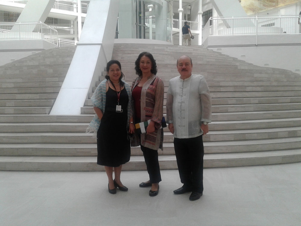 In the Museum's magnificent central courtyard are Executive Director Ana Labrador, Ms. Gemma Cruz Araneta and former Ambassador Virgilio A. Reyes, Jr. , taken on International Museum Day, May 18, 2018 (Photo courtesy of Virgilio Reyes, Jr.)