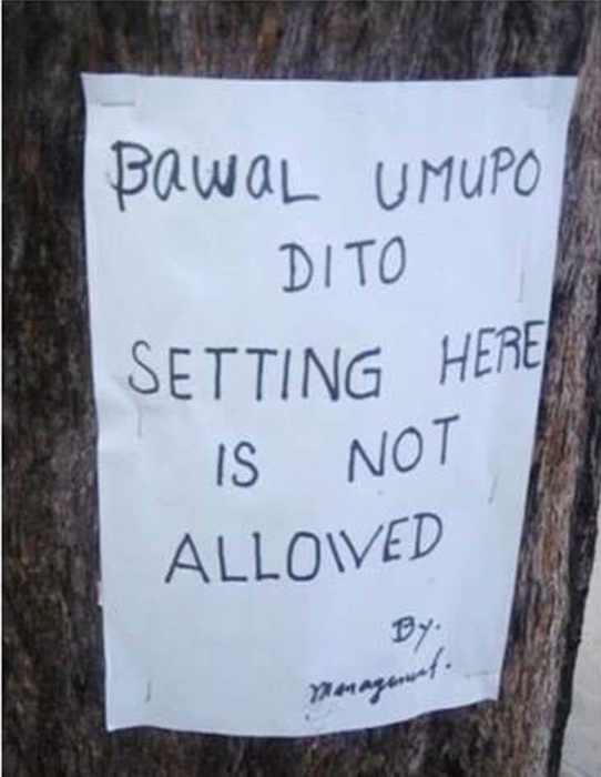 Bawal Umupo Dito (Source: facebook.com/Jack Ealdama)