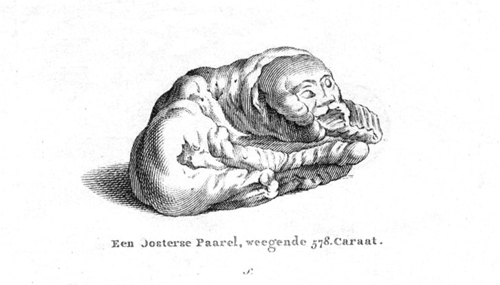 "A print depicting the "" Sleeping Lion "" pearl from May 1778, although it obviously looks more human than lion-like."