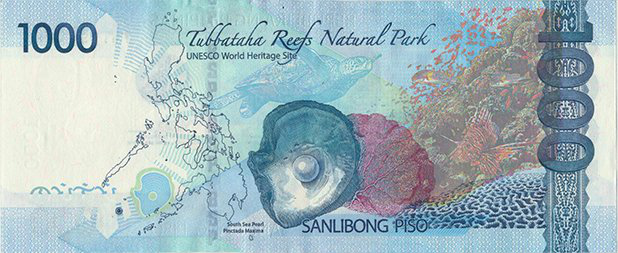 The current 1000 Philippine peso bill celebrating the Tabbatha Reefs Natural Park as a UNESCO World Heritage Site and the pearl as the country's national gem.