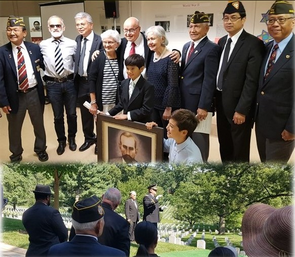 FilVetREP Region 2 Director Jay Cabacar, FRA President Rey Regis and Col. Cedric Jasmin joined family members on June 28, 2018 to honor Master Sergeant Aaron Kliatchko with a formal military funeral at Arlington National Cemetery.
