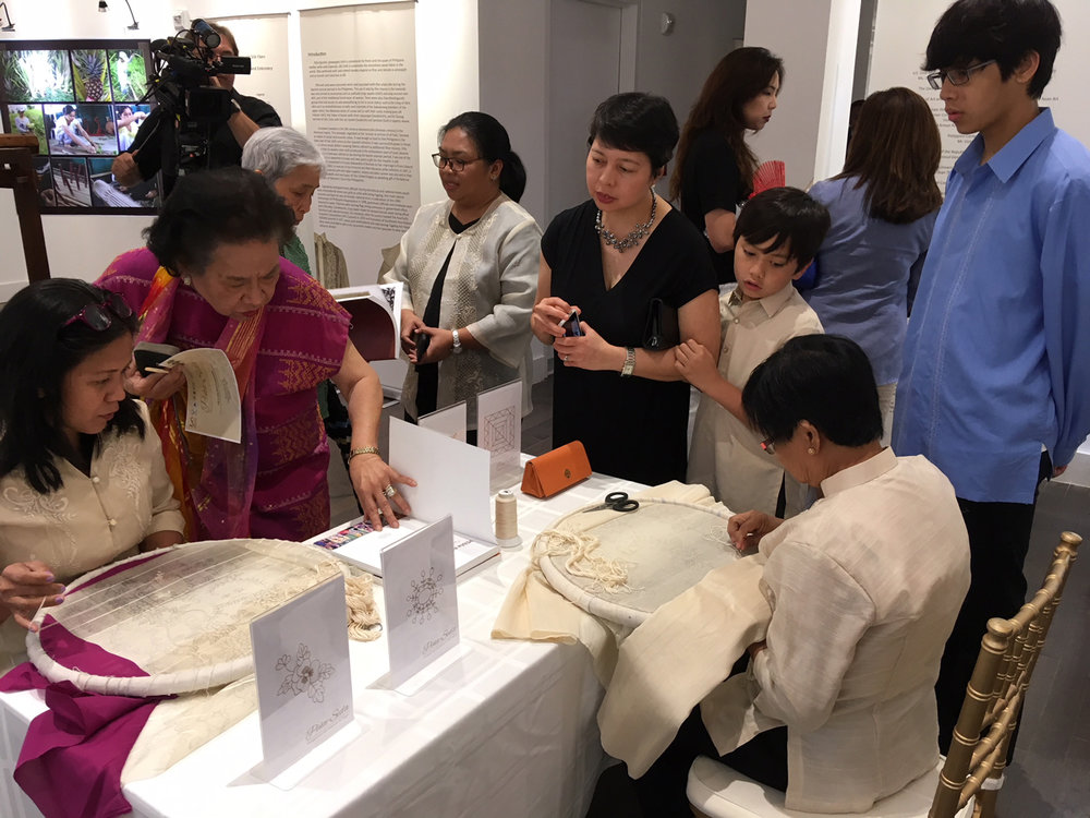 Lilian Teresita Del Valle and Joan Monedo demonstrate deft embroidery skills at the Chancery Annex Building of the Philippine Embassy in Washington, DC (Photo courtesy of The Philippines On the Potomac Project)