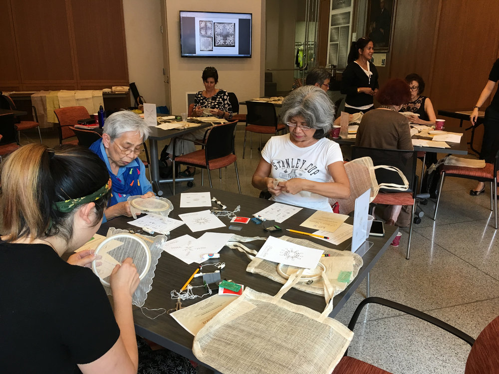 June 13 Embroidery Workshop  at the George Washington University Museum and The Textile Museum, Washington, DC (Photo courtesy of The Philippines On the Potomac Project)