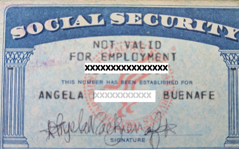 Mayo's (old) Social Security card. Since she and her family only had tourist visas they were not allowed to work in the USA, as indicated on their Social Security card.