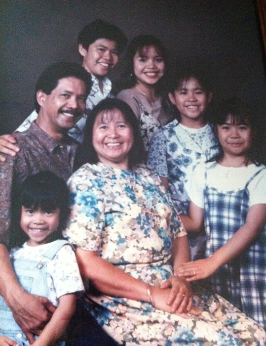 Buenafe family photo taken in 1996.  Two years later the entire family were deported back to the Philippines except for their youngest sister, who stayed with an aunt in Daly City, California.