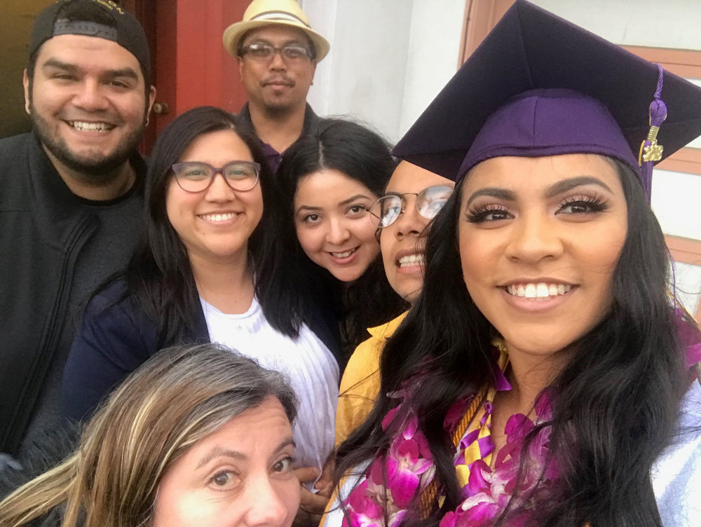 Alysia's graduation picture from San Francisco State University, 2017, her father, Noel, top; mother Mona, lower left (partially cut off), and Alysia, right.