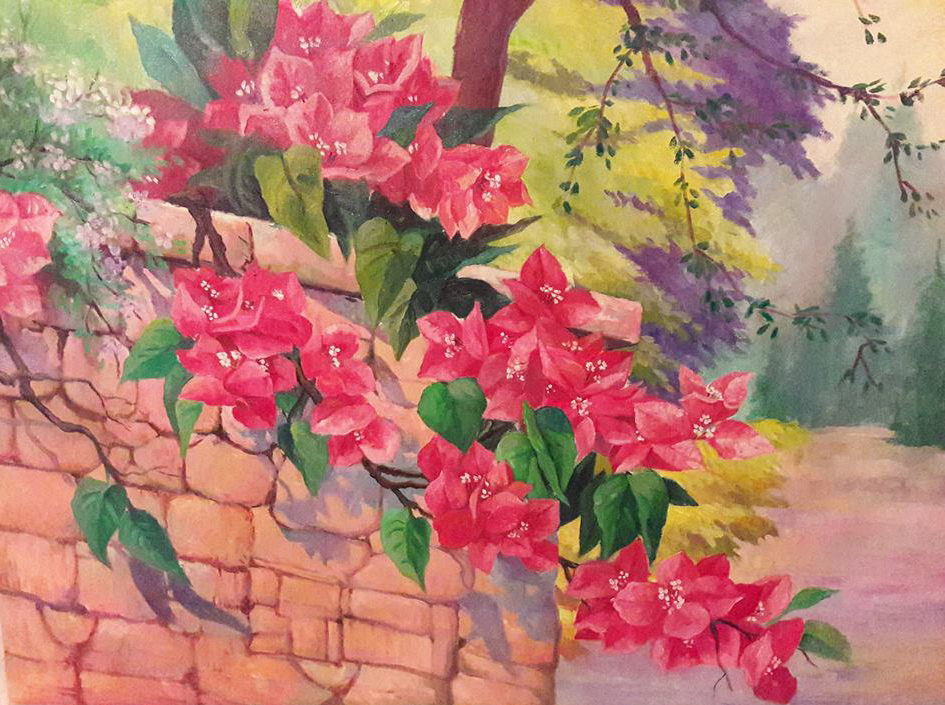 "Bougainvilleas,  2018, oil on canvas, 24"" x 30"". (private collection)"