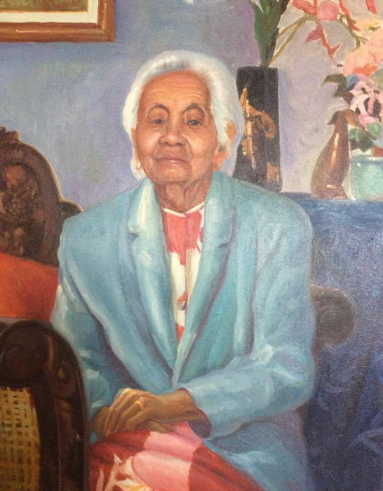 "Grandma , 2001, oil on canvas, 18"" x 24"""